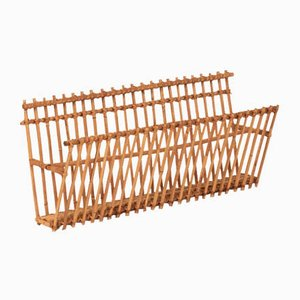 Large Vintage Spanish Bamboo Magazine Rack, 1970s