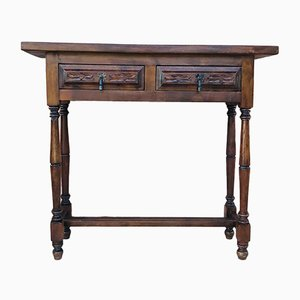 Antique Baroque Spanish Carved Walnut Console Table with Two Drawers, 1890s