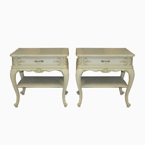 Mid-Century Chippendale Style White Nightstands from Warrings, Set of 2