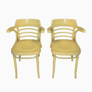 Mid-Century Dutch Pastel Yellow Armchairs, Set of 2
