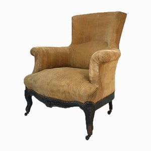 Antique Napoleon III Velvet Lounge Chair