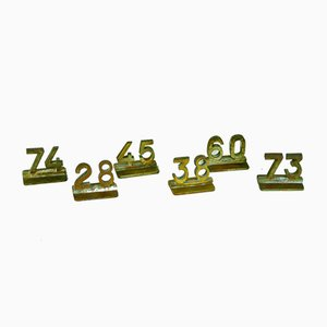 Bronze Restaurant Table Numbers, 1940s, Set of 6