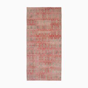 Turkish Handmade Distressed Muted Color Woolen Oushak Foyer Runner Rug
