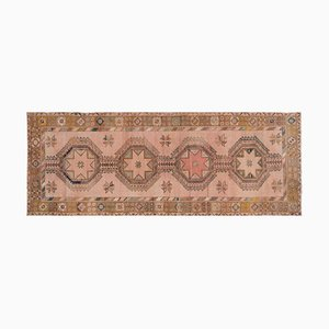 Turkish Muted Vegetable Dye Hand-Knotted Geometric Oushak Runner Rug