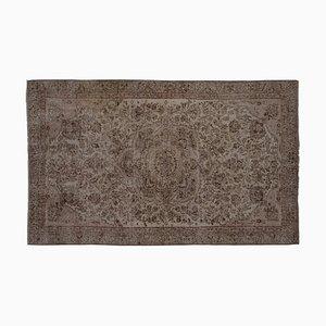 Vintage Turkish Floral Rug in Neutral Colored Woolen Carpet