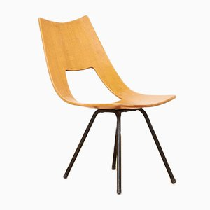 Mid-century Black Lacquered Tubular Steel Shell Lounge Chair