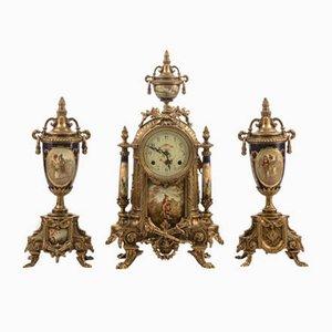 Vergoldete französische Vintage Metall Uhr mit Vasen, 1950er, 3er Set