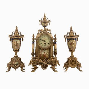 Vintage French Gilt Metal Clock with Vases, 1950s, Set of 3