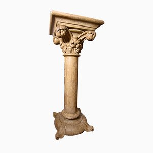 Vintage Italian Lacquered Wood Column with Corinthian Capital