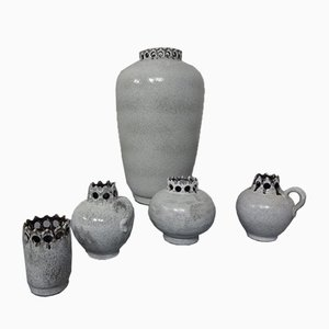 Vintage White Ceramic Vases by Hans Welling for Ceramano, 1960s, Set of 5