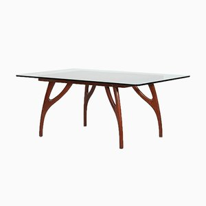 Mid-Century American Mahogany and Glass Dining Table by Adrian Pearsall, 1950s