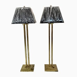Vintage Black and Gold Floor Lamps, 1970s, Set of 2