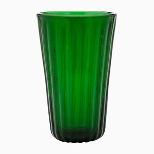 Jarrón verde estriado de Eligo