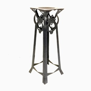 Antique Jugendstil Handmade Steel Pedestal, 1900s