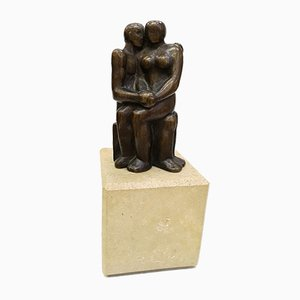 Bronze and Marble Base Lovers Sculpture, 1970s
