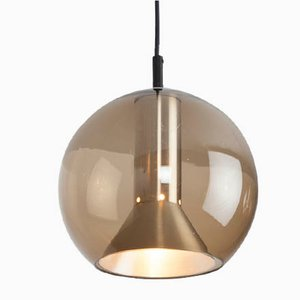 Smoked Glass Model B 1040-20 Globe Ceiling Lamp by Franck Ligtelijn for Raak, 1960s