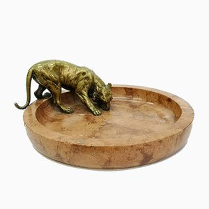 Art Deco Cigar Ashtray with Bronze Tiger Decoration, 1930s