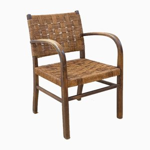 Mid-Century Wood and Rope Lounge Chair, 1960s