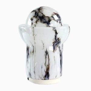Vintage Tischlampe aus Opalglas in Weiß & Marmor von Ivan Jakeš für Sklarny Rapotin, 1960er