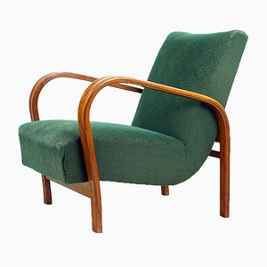 Vintage Green Fabric and Oak Armchairs by Kropacek & Kozelka for Interier Praha, 1940s, Set of 2