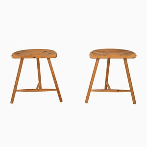 Danish Pinewood Stools by Arne Hovmand Olsen, 1950s, Set of 2