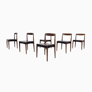 Teak and Black Vinyl Dining Chairs Attributed to Lübke, 1960s, Set of 6