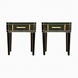 Black Nightstands With Crystal and Brass by Zenza, Set of 2