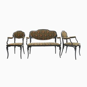 Antique Austrian Armchairs and 2-Seater Banquette Sofa by J&J Kohn, Thonet for J&J Kohn Wien, 1900s