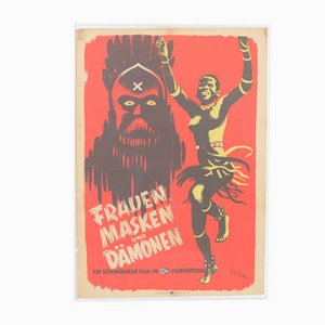 Vintage Womens Masks and Demons Movie Poster by Kurt Geffers for DEFA FILM, 1940s