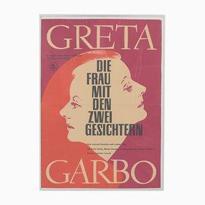 Affiche de Film Greta Garbo The Woman with Two Faces Vintage par Moormann pour Progress Film, 1962