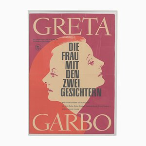Vintage Greta Garbo The Woman with Two Faces Movie Poster by Moormann for Progress Film, 1962