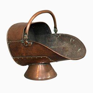 Antique English Copper Fireside Coal Scuttle Log Bucket, 1890