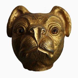 """Vergoldete Skulptur eines Mops """"Mika"""" von Valentino um 1980"""