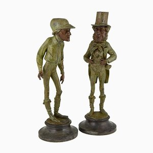 Figural Jockey and Gentleman Candleholders by Emile Guillemin, Set of 2