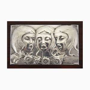 Sterling Silver Wall Panel with Singing Girls by Ottaviani, 1960s