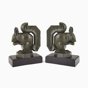 Art Deco Squirrel Bookends by Max Le Verrier, 1930s, Set of 2