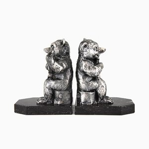 Art Deco Bears with Guitar Bookends by Benjamin Rabier, 1930s, Set of 2