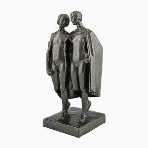 Art Deco Bronze Sculpture of Two Nudes by Pierre Lenoir, 1920s