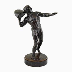 Antike Bronze Skulptur von Male Akt mit Stein von Hugo Siegwart