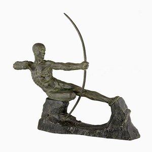 Art Deco Bronze Male Nude Archer Hercules Sculpture by Victor Demanet, 1920s