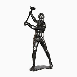 Male Nude with Sledgehammer Sculpture by Gerhard Adolf Janensch, 1920s
