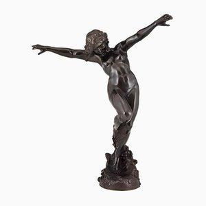 Art Nouveau Bronze Nude Dancer Bacchante Sculpture by Carl Binder