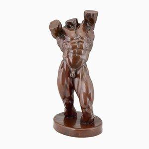 Modern Bronze Nude Male Torso Sculpture by BKA, 1980s