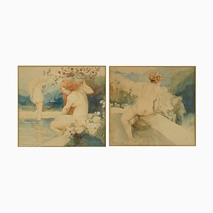 Art Nouveau Nude Watercolor Paintings by A. Crommen, 1918, Set of 2