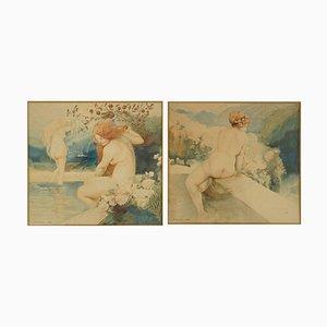 Peintures à l'Aquarelle Nues Art Nouveau par A. Crommen, 1918, Set de 2