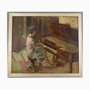 Pintura Art Déco de una mujer al piano de Leo Bervoets, años 20