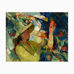 French Painting of a Woman with Hat in the Garden by Paul Collomb, 1950s