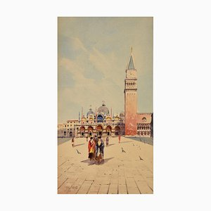 Watercolor of Venice Women at San Marco by Sattio