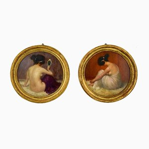 Art Nouveau Circular Oil Paintings with Nudes by Emmanuel Fougerat, Set of 2