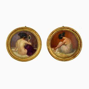 Peintures à l'Huile Circulaires Art Nouveau avec Nu par Emmanuel Fougerat, Set de 2